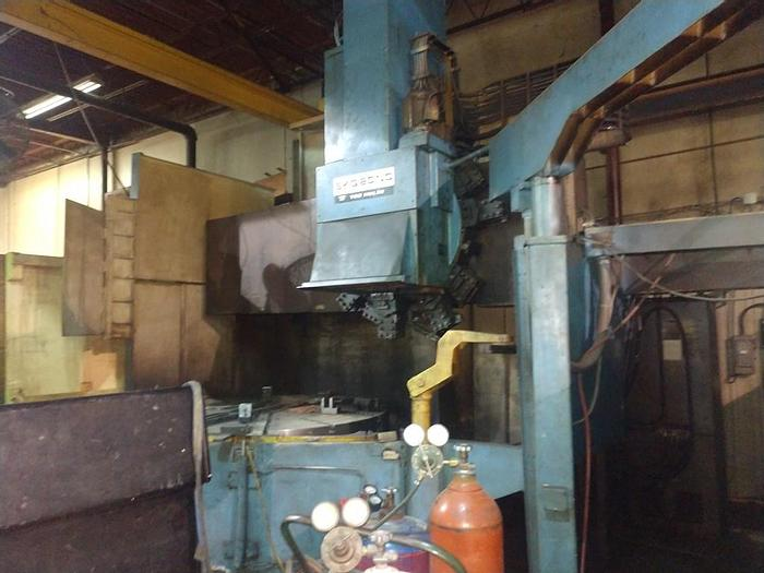 """Used 1990 TOS CNC Vertical Boring Mill, 90"""" Swing, 80"""" Chuck, 65"""" Under Rail, 15 Station ATC, Siemens CNC"""
