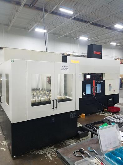 "2017 MAZAK DUAL TURN 200,  DUAL SPINDLE, DUAL TURRET CNC LATHE WITH GANTRY LOADER & TABLE, MAZATROL SMOOTH ""C""  CONTROL"