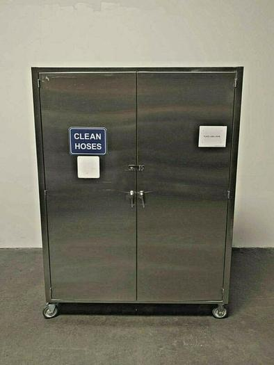 "Used Mobile Stainless Steel Storage Cabinet on Casters 60"" x 18"" x 80"""