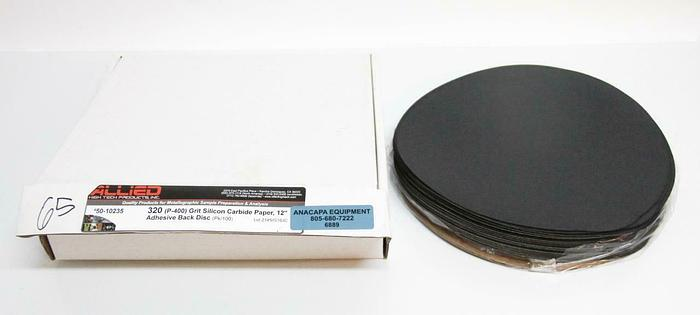 "Allied 50-10235 320 Grit Silicon Carbide Paper Adhesive Disc 12"" LOT OF 65 (6889"