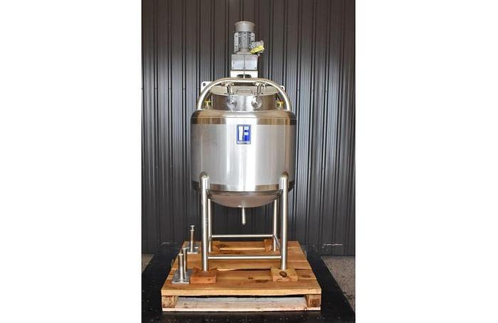 Used USED 60 GALLON JACKETED TANK, 304 STAINLESS STEEL, WITH SWEEPER MIXER, ''UNUSED TANK''