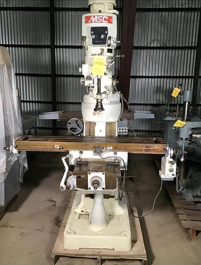 "Used MSC #2 Vertical Milling Machine; 2 HP; 9"" x 42"" Tbl."