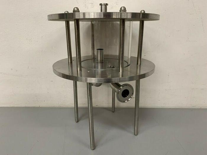 "Used Glass Chromatography Column 2.3 Liter Sample Tank w/ 1"" & 3/4"" Sanitary Fittings"