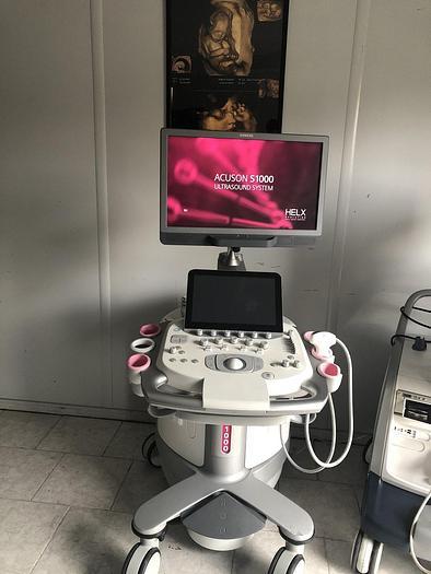 Gebraucht Siemens Acuson S1000 Ultraschallgerät mit Konvex-Sonde und Mitsubishi P95 Drucker