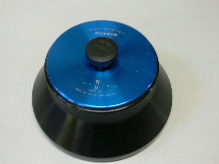 Used Beckman JA-12 Fixed-Angle Aluminum Rotor- 12 x 50 mL, 12,000 rpm w/ Loose Cap
