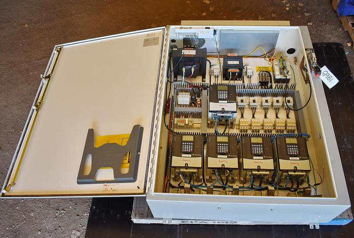 Used USED CONTROL CABINET WITH VARIABLE SPEED DRIVES AND TRANSFORMERS