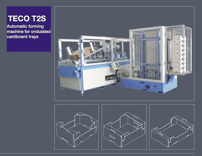 Used TECO T2S FORMING Cardboard Box Formation Machines Tray Plus IM04 stacker for ready production