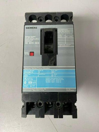 Used Siemens EBD43B015 Sentron Series Circuit Breaker