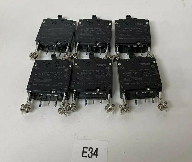 Used Idec Izumi Corp NH1S-1111 Single Pole Circuit Protector (Lot Of 6)