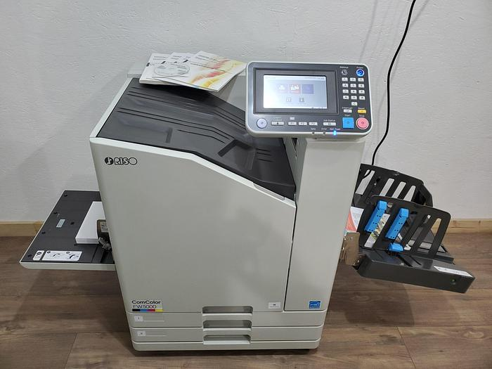 Used Riso ComColor FW5000 Full Color Inkjet Printer with Auto Stacking Tray. Only 647K Meter!