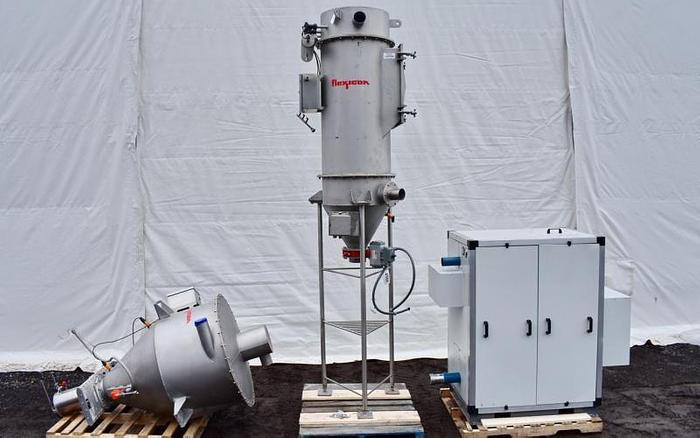 Used USED FLEXICON PNEUMATIC CONVEYING SYSTEM WITH TUTHILL BLOWER & FLEXICON HOPPER