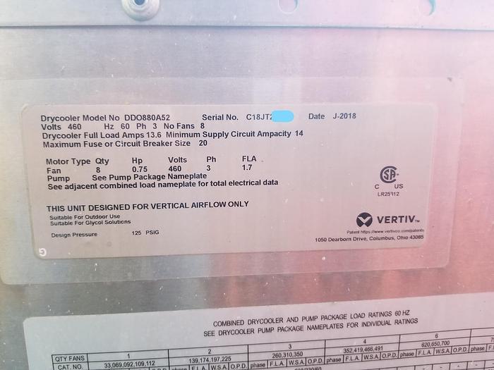 2018 LIEBERT - VERTIV DDO880A52 DRY COOLER