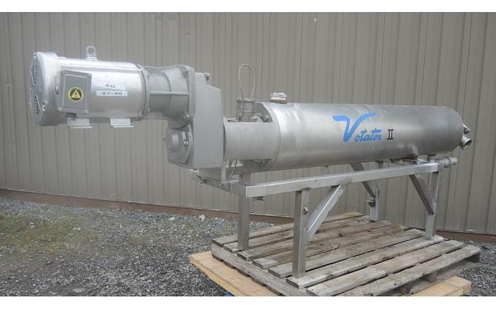 USED SCRAPED SURFACE HEAT EXCHANGER, HORIZONTAL, STAINLESS STEEL, 9 SQ.FT.
