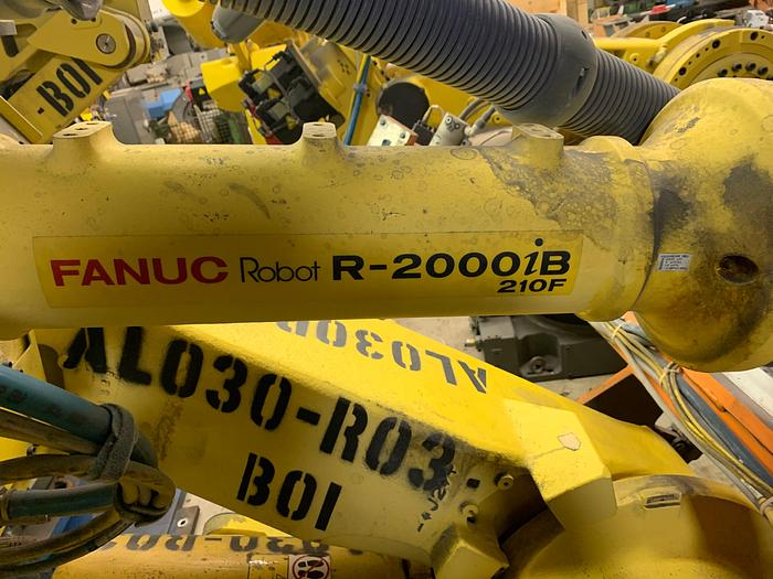 Used FANUC R2000iB/210F 6 AXIS CNC ROBOT W/R30iA CONTROLS 210KG X 2655mm REACH