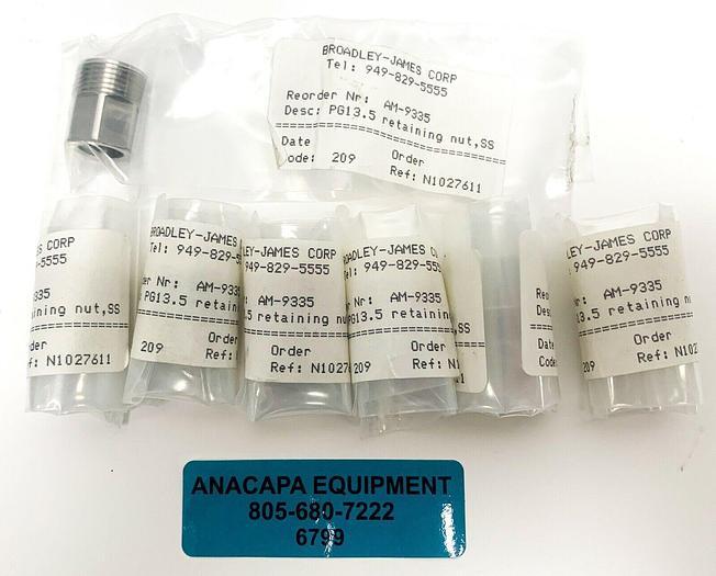 Applikon Broadley-James AM-9335, PG13.5 retaining nut, SS, Lot of 7 (6799)W