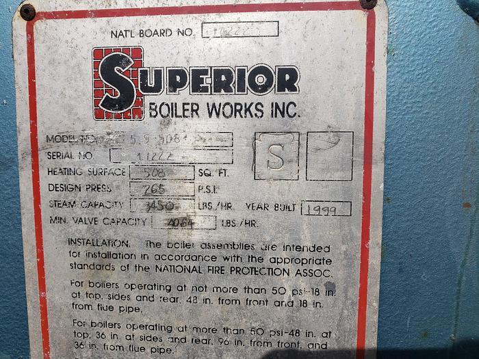 1999 100 hp Superior high pressure 265 PSI Steam Boiler