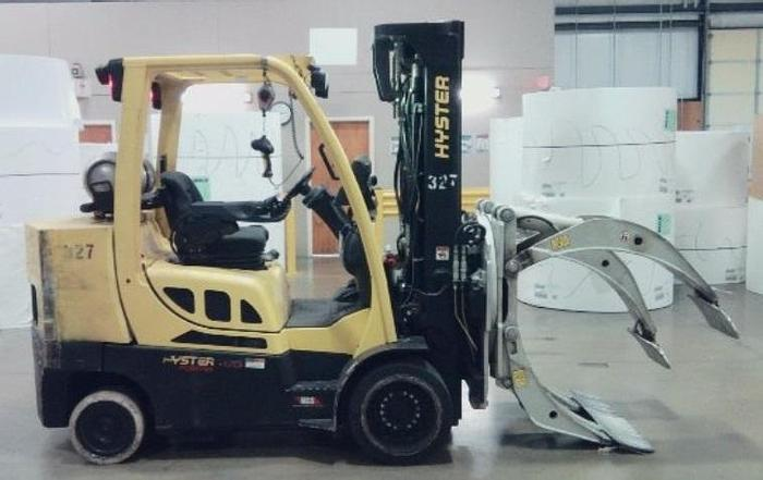 """Used 10,000 POUND HYSTER MODEL S100FTBCS FORKLIFT WITH 75"""" DIAMETER CASCADE CLAMP"""