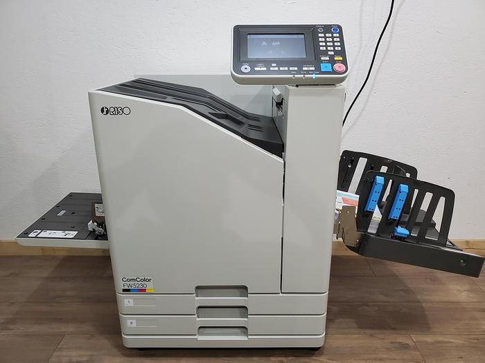Used Riso ComColor FW5230 Full Color Inkjet Printer with Auto Stacking Tray. Only 402K Meter!
