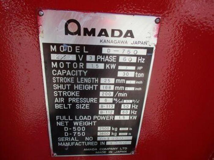 AMADA D-750 SINGLE HEAD PUNCH PRESS 30 TON