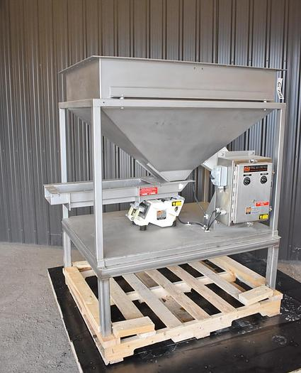 "Used USED ERIEZ VIBRATORY FEEDER, 8"" WIDE X 32"" LONG, STAINLESS STEEL, WITH FEED HOPPER, VARIABLE SPEED"