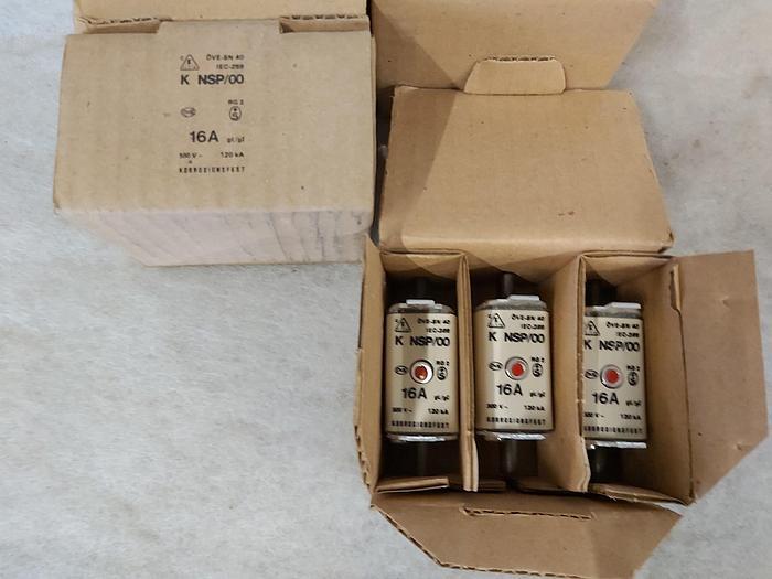 12 Stück NH Sicherungseinsätze Größe 00, 16A, K NSP/00, 500V, Elsta,  neuwertig