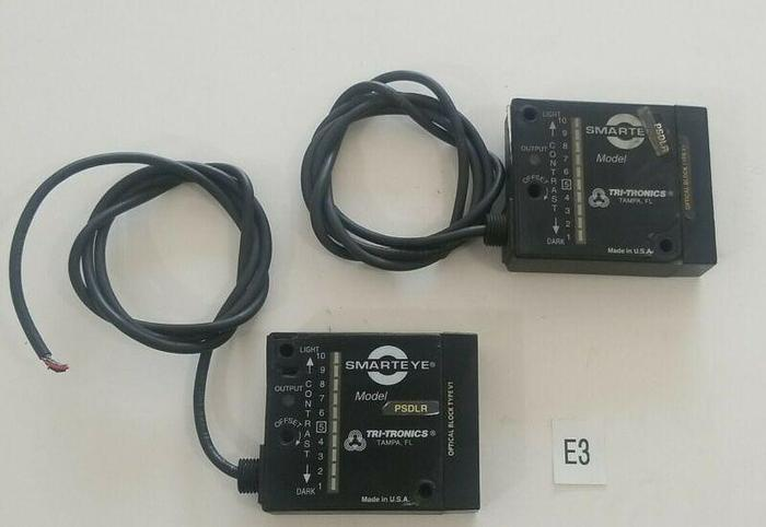 Used *PREOWNED* LOT OF 2 TRI-TRONICS SMARTEYE PSDLR SENSOR PHOTOELECTRIC BEAM