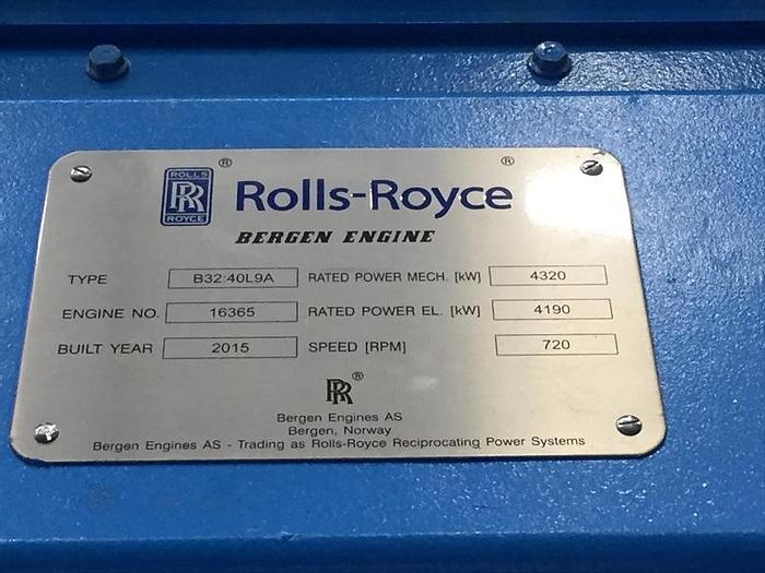 Rolls Royce Bergen B32:40L9A New engines Built 2015