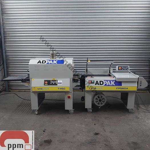 Used Adpak FO560A Automatic L Sealer & Heat Tunnel Shrink Wrapping Machine