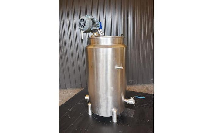 USED 50 GALLON JACKETED MIX TANK, STAINLESS STEEL, ELECTRICALLY HEATED JACKET