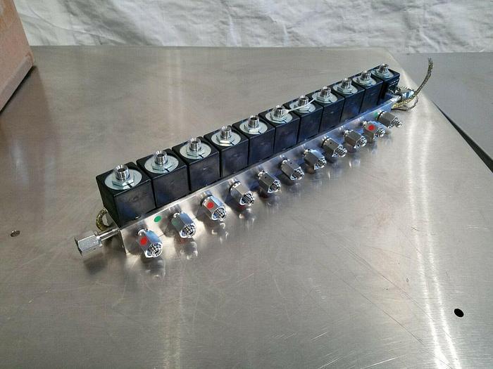 Used Solenoid Valve Manifold 11 Valves All Stainless Steel 24V