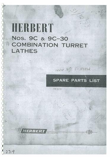 Used Manual for Alfred Herbert Nos 9C & 9C-30