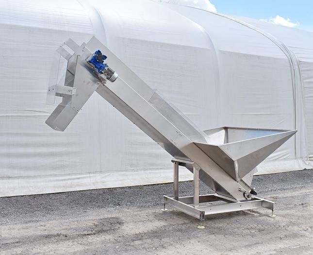 Used USED STAINLESS STEEL INCLINE CLEATED BELT CONVEYOR, 18'' WIDE X 136'' LONG