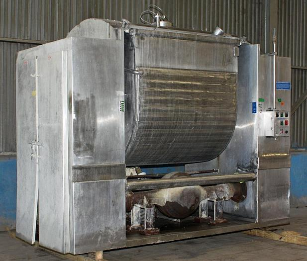 Used 1600# SHAFFER HORIZONTAL ROLLER BAR MIXER - S/S - JACKETED