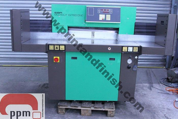 Used EBA 10/720 CNC Programmable Paper Guillotine with Light Beam Guards
