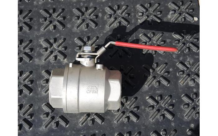 "USED BALL VALVE, SIZE: 2"", CAST STAINLESS STEEL"