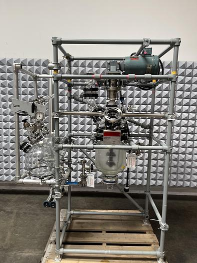 Used Sentinel 10L Jacketed Glass Reactor Skid w/ Motor, Mixer and Collection Flasks