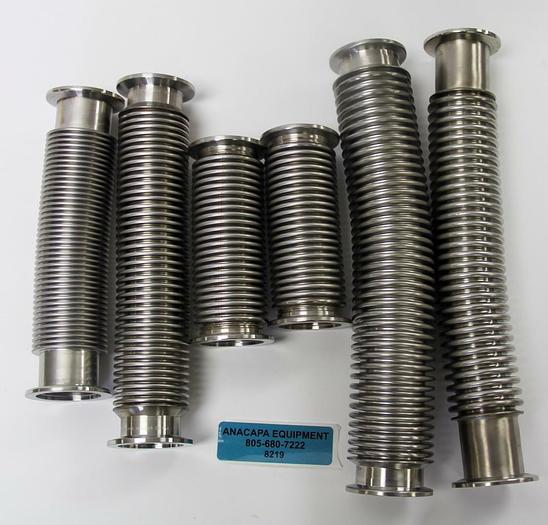"""Used NW40 Corrugated Flex Hose Bellows Stainless Steel Length 5-12"""" Lot of 6 (8219)W"""