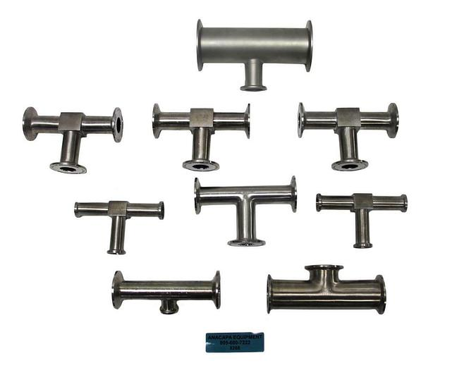 Used Nor-Cal, Tri-Clover Tee & Reducer Tee Fittings Stainless Steel Lot of 9 (8268)W