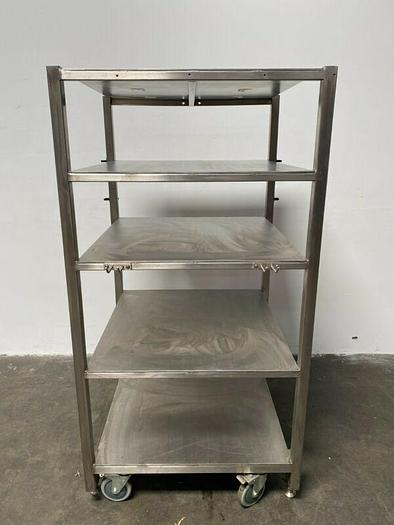 """Used Heavy Duty Adjustable Height Stainless Steel Rolling Cart 32"""" W x 30"""" L"""