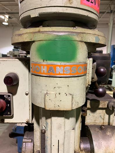 JOHANSSON FLOOR STANDING JACK KNIFE GEARED HEAD POWER FEED SINGLE SPINDLE DRILL