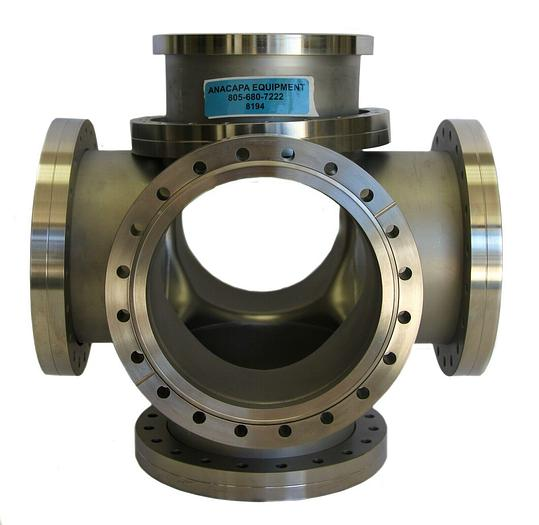 """Used High Vacuum Chamber 6-Way Cross Stainless Steel DN200 Flange, 8"""" Dia (8194)W"""