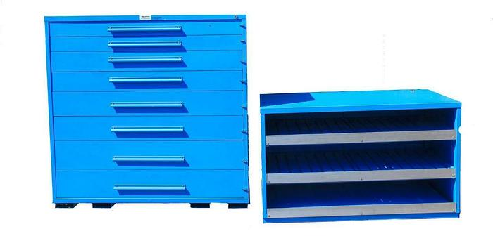 """Used Equipto 4464 & 46078 Modular Cabinet 8 Drawers 96"""" x 27 5/8"""" x 60"""" HDW (7692)"""