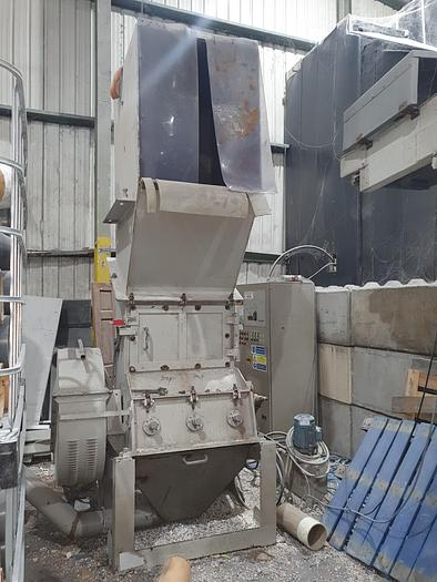 Used Previero Plastic Granulator, infeed conveyor, extraction and bag frame.