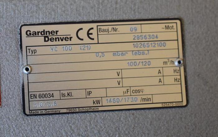 USED GARDNER DENVER ROTARY VANE VACUUM PUMP, VC100, 58.9 CFM