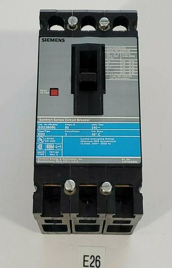 Used *PREOWNED* SIEMENS ED23B080 TYPE ED2 80 AMP 3 POLE Circuit Breaker + WARRANTY!