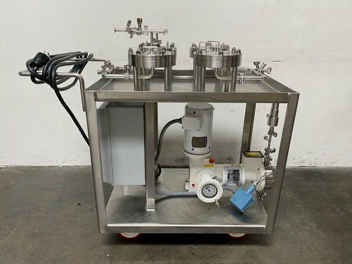 Used Lot of 4- Stainless Steel 142mm Membrane Disc Filter w/ N-K31 Pump & 1.5HP Motor