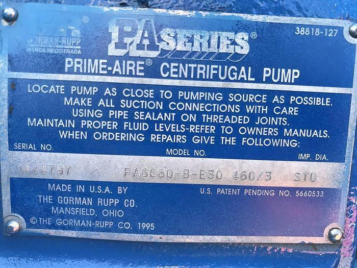 1014 GORMAN RUPP PA6C60-B-460/3 TRASH WATER PUMP PRIME AIRE PA6C60-B-E50