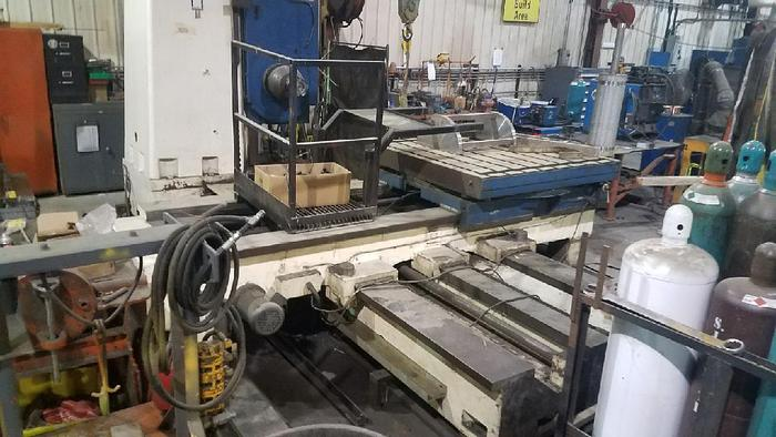 """Used 4.125"""" Meuser Table Type Boring Mill, 57"""" X 57"""" Table, X Travel 72"""", Y Travel 55"""", 90 degree rotary table, DRO"""