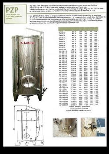 Letina 528 Gallon Jacketed Ferm/Storage Tanks