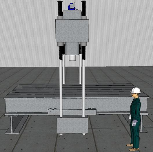 250 Ton A.F.C. Hydraulic Straightening Press; 4 Axis Traveling Gantry Type with Elevating Crown; 4 Column Design
